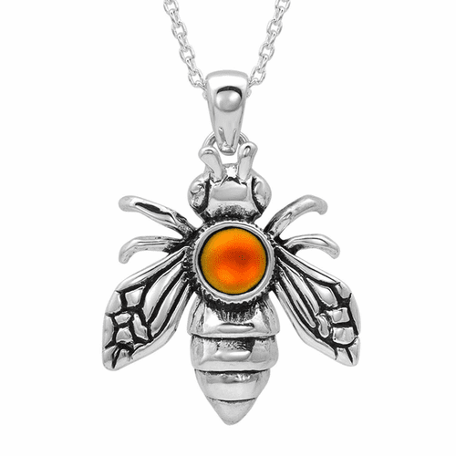 Polished Fire Bee Pendant by LeightWorks Wearable Fine Art