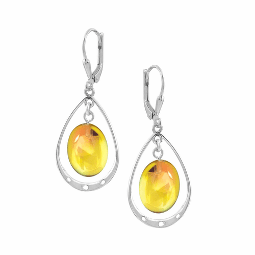 Polished Fire Oval with Loop Earrings by LeightWorks Wearable Fine Art