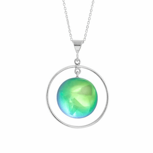 Polished Green Circle with Loop Pendant by LeightWorks Wearable Fine Art