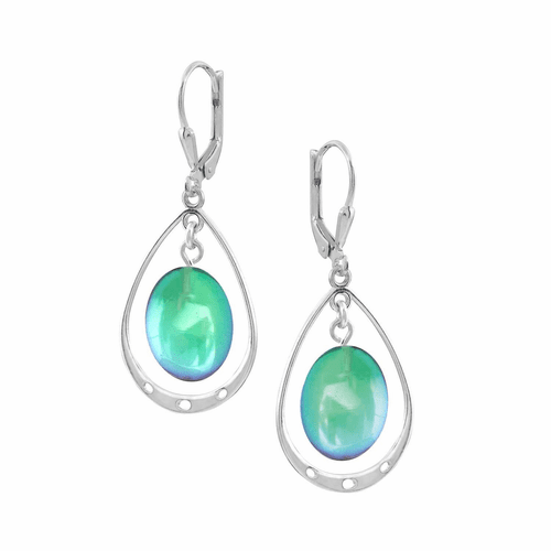 Polished Green Oval with Loop Earrings by LeightWorks Wearable Fine Art