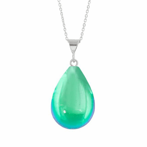 Polished Green Small Drop Pendant by LeightWorks Wearable Fine Art