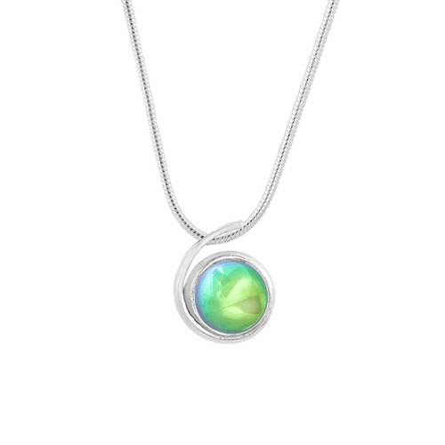 Polished Green Small Wave Pendant by LeightWorks Wearable Fine Art