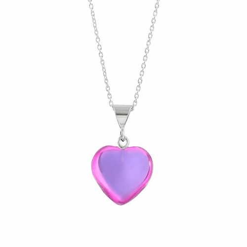 Polished Pink Small Heart Pendant by LeightWorks Wearable Fine Art