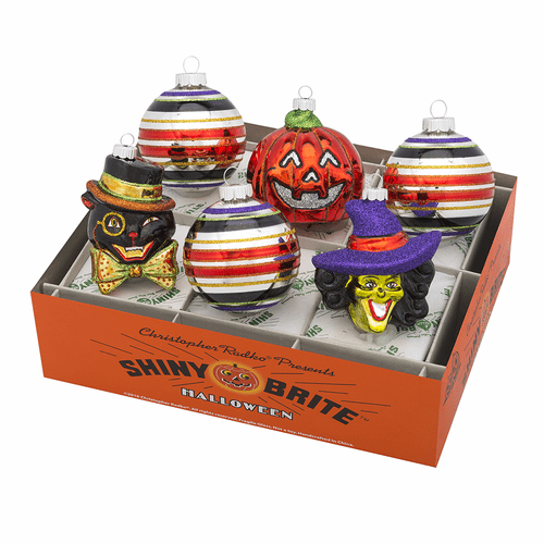 """Halloween 3.25"""" Decorated Rounds and Figures (Set of 6) by Christopher Radko"""