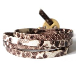 Python Black Leather Wrap - Lenny & Eva