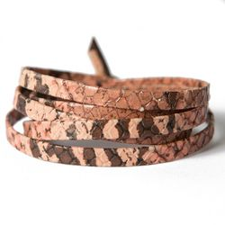Python Blush Leather Wrap - Lenny & Eva