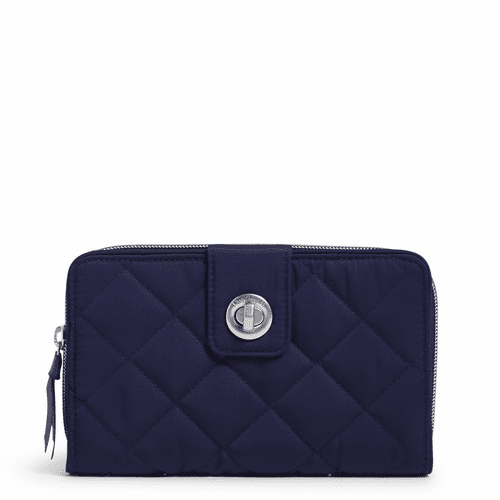 RFID Turnlock Wallet Performance Twill Classic Navy by Vera Bradley
