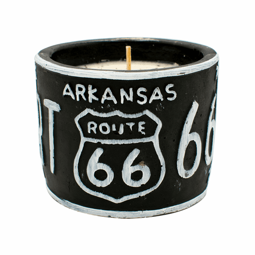 """Roasted Espresso American Highway """"Arkansas"""" Round License Plate Pot Swan Creek Candle"""