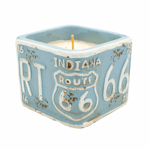 """Roasted Espresso American Highway """"Indiana"""" Square License Plate Pot Swan Creek Candle"""
