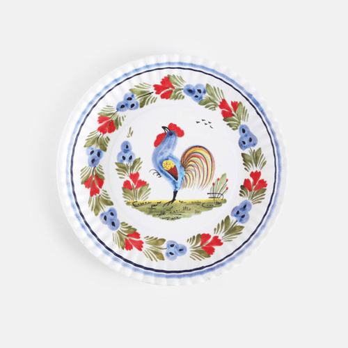 "Rooster ""Paper Plate Look"" Melamine 9"" Plate by One Hundred 80 Degrees - Set of 4"