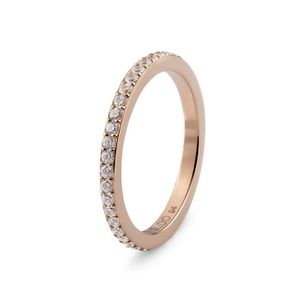 Rose Gold with Crystal Border Eternity Interchangeable Spacer Ring by Qudo Jewelry