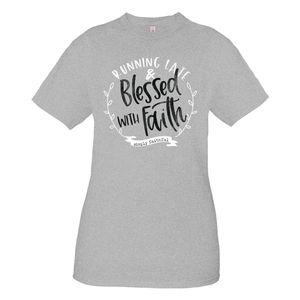 Running Late Blessed With Faith Simply Faithful Short Sleeve Tee by Simply Southern