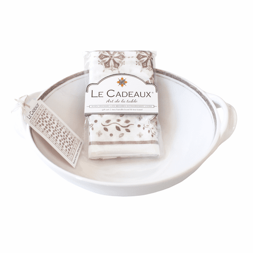 Rustica Antique White Two Handled Bowl with Matching Tea Towel Gift Set by Le Cadeaux