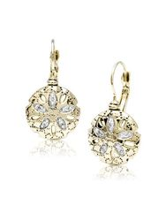 Sand Dollar CZ French Wire Earrings by John Medeiros