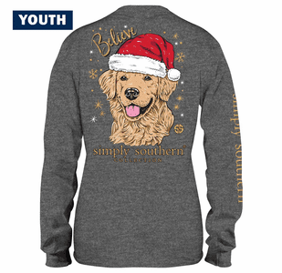 Santa Dog Believe YOUTH Long Sleeve Tee by Simply Southern