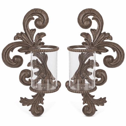 Set of 2 Metal Acanthus Leaf Wall Sconces with Glass Cylinder - GG-Collection