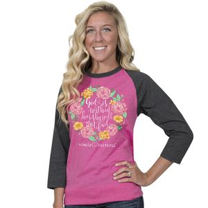 She Will Not Fail Dark Gray and Pink Simply Faithful Long Sleeve Tee by Simply Southern