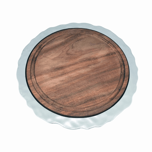 Shimmer Round Cheese Board with Dark Wood Insert by Mariposa