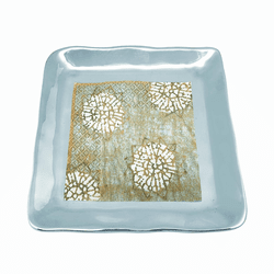 Shimmer Small Square Plate with Block Print Napkin by Mariposa