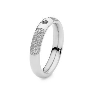 Silver with Crystals Deluxe Basic Small Interchangeable Ring by Qudo Jewelry
