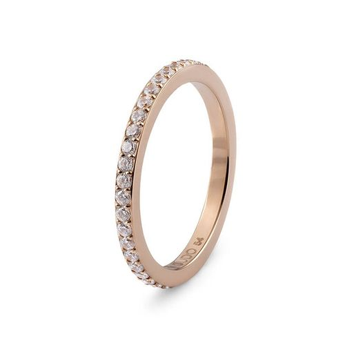 Size 6 Rose Gold with Crystal Border Eternity Interchangeable Spacer Ring by Qudo Jewelry