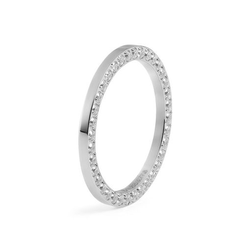 Size 6 Silver with Crystal Border Interchangeable Spacer Ring by Qudo Jewelry