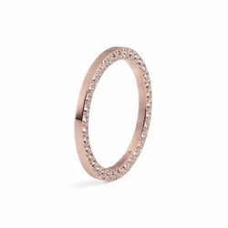 Size 7.5 Rose Gold with Crystal Border Interchangeable Spacer Ring by Qudo Jewelry