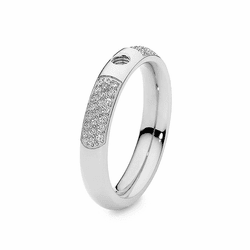 Size 7.5 Silver with Crystals Deluxe Basic Small Interchangeable Ring by Qudo Jewelry