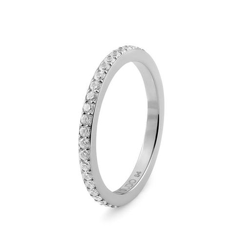 Size 8.5 Silver with Crystal Border Eternity Interchangeable Spacer Ring by Qudo Jewelry