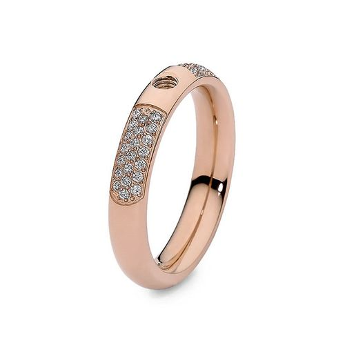 Size 9 Rose Gold with Crystals Deluxe Basic Small Interchangeable Ring by Qudo Jewelry