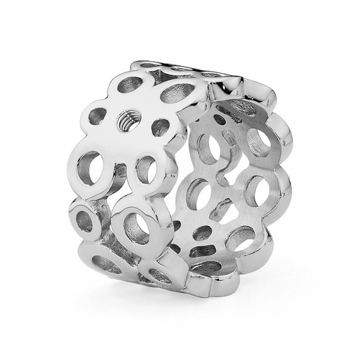 Size 9 Silver Ancona Basic Interchangeable Ring  by Qudo Jewelry