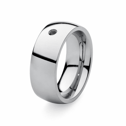 Size 9 Silver Basic Big Interchangeable Ring by Qudo Jewelry