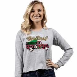Small All Hearts Come Home For Christmas Heather Shortie Long Sleeve Tee by Simply Southern