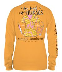 Small Bee Kind to Nurses Mustard Long Sleeve Tee by Simply Southern