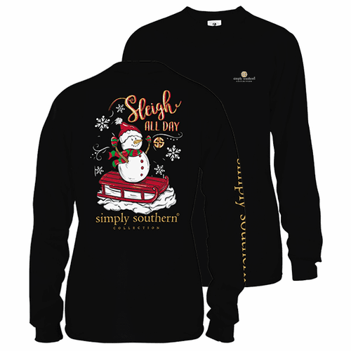 Small Black Sleigh All Day Long Sleeve Tee by Simply Southern