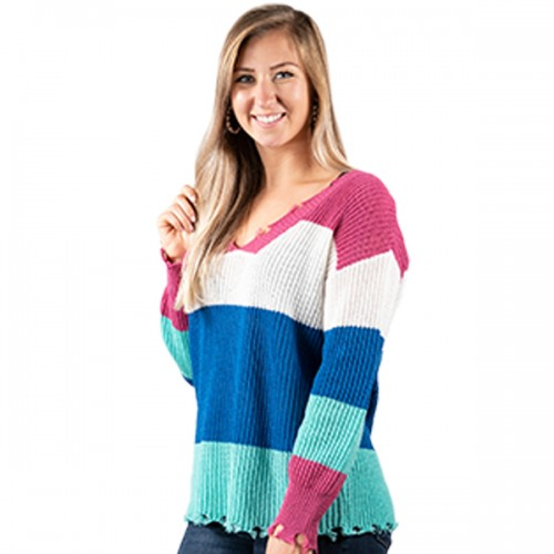 Small Bright Striped Distressed Sweater by Simply Southern