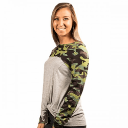 Small Camo Knot Top by Simply Southern