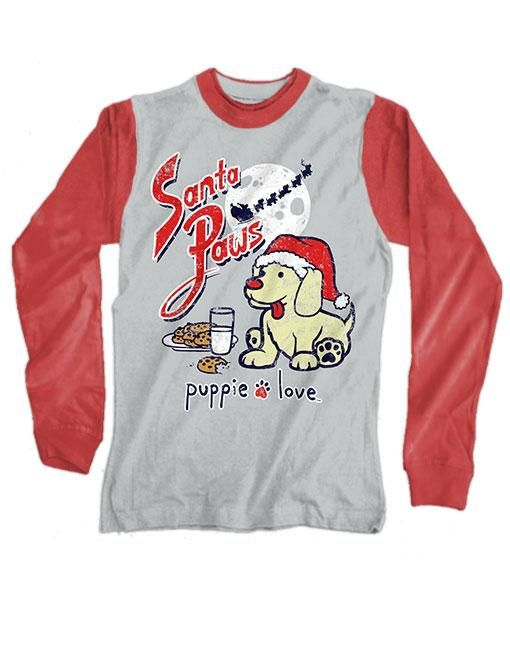 39d842d15 Small Heather Grey and Red Santa Paws Long Sleeve Tee by Puppie Love