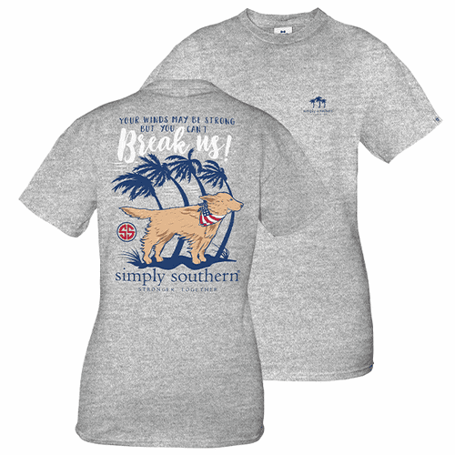 Small Hurricane Heather Gray Short Sleeve Tee by Simply Southern