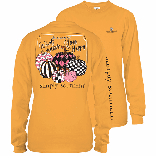 Small Mustard Yellow Do More Of What Makes You Happy Long Sleeve Tee by Simply Southern