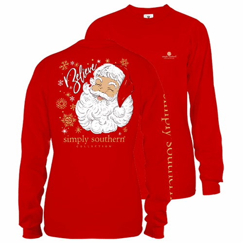 Small Red Believe In Santa Long Sleeve Tee by Simply Southern