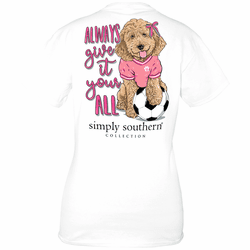 Small Soccer White  Short Sleeve Tee by Simply Southern