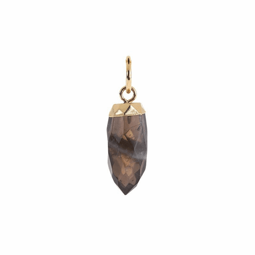 Smokey Quartz Antique Gold Large Faceted Spike by Benny & Ezra