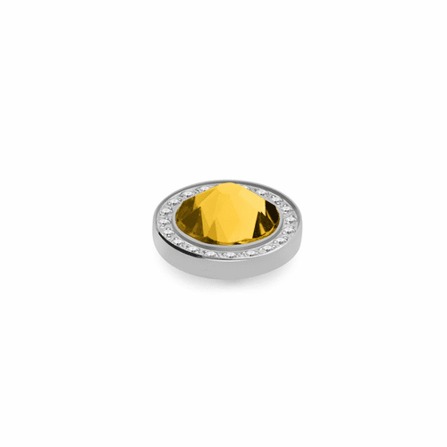 Sunflower 10.5mm Silver with Crystal Border Interchangeable Top by Qudo Jewelry