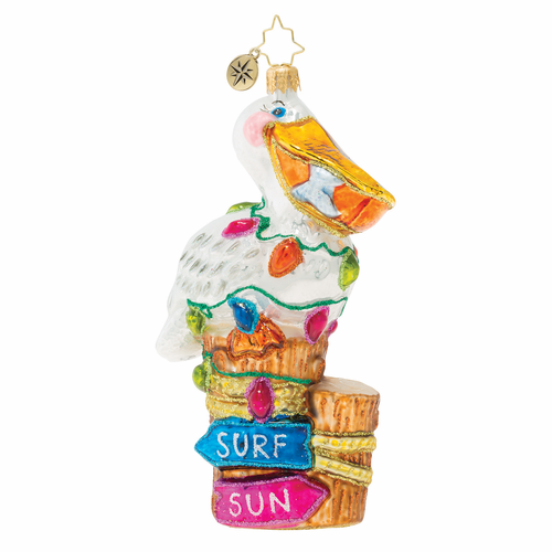 Surf's Up Pelican Pete! Ornament by Christopher Radko