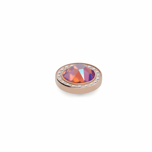 Tangerine Shimmer 10.5mm Rose Gold with Crystal Border Interchangeable Top by Qudo Jewelry