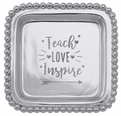 """""""Teach, Love, Inspire"""" Beaded Post-It Note Holder by Mariposa"""