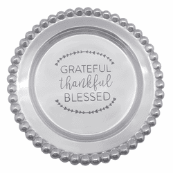 Thankful, Grateful, Blessed Beaded Wine Plate by Mariposa