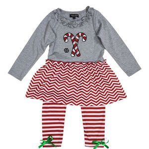 Toddler Candycane Dress Set by Simply Southern