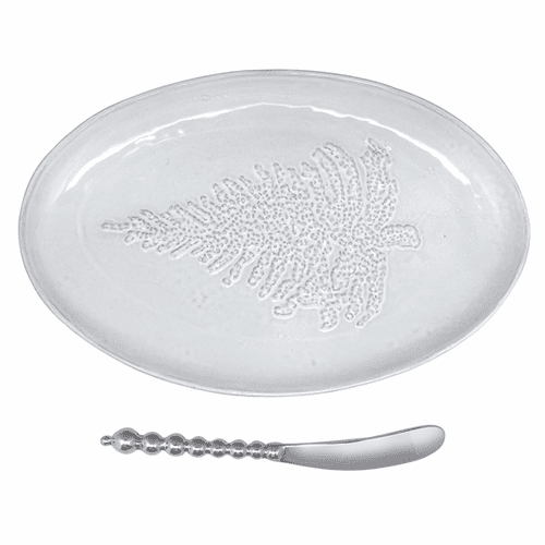 Tree Ceramic Oval Plate by Mariposa